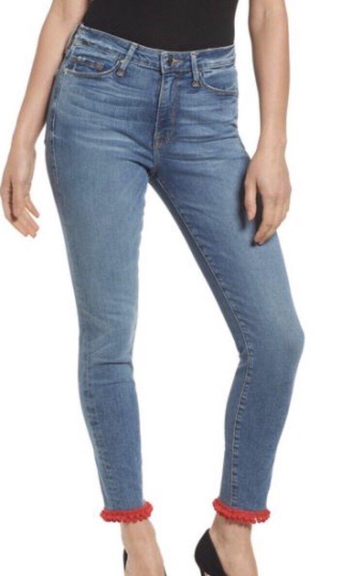 NWT Good American Good Legs High Waist Pom Jeans Size 8