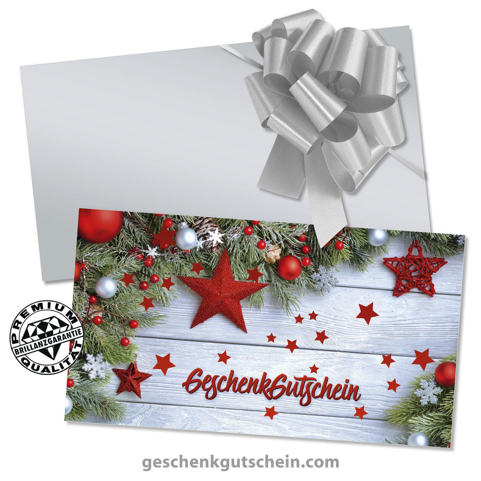 Weihnachts-Gechenkgutscheine mit KuGrüns und Schleifen für alle Branchen X1291