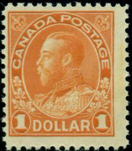 CANADA #122 $1.00 orange, og, LH, F/VF, Scott $95.00