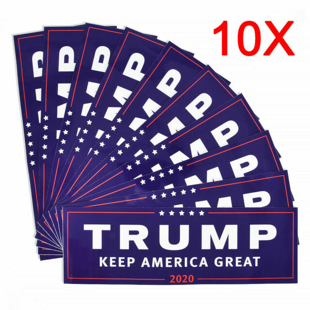 10pcs 2020 Donald Trump for President Make America Great Again Bumper Stickers