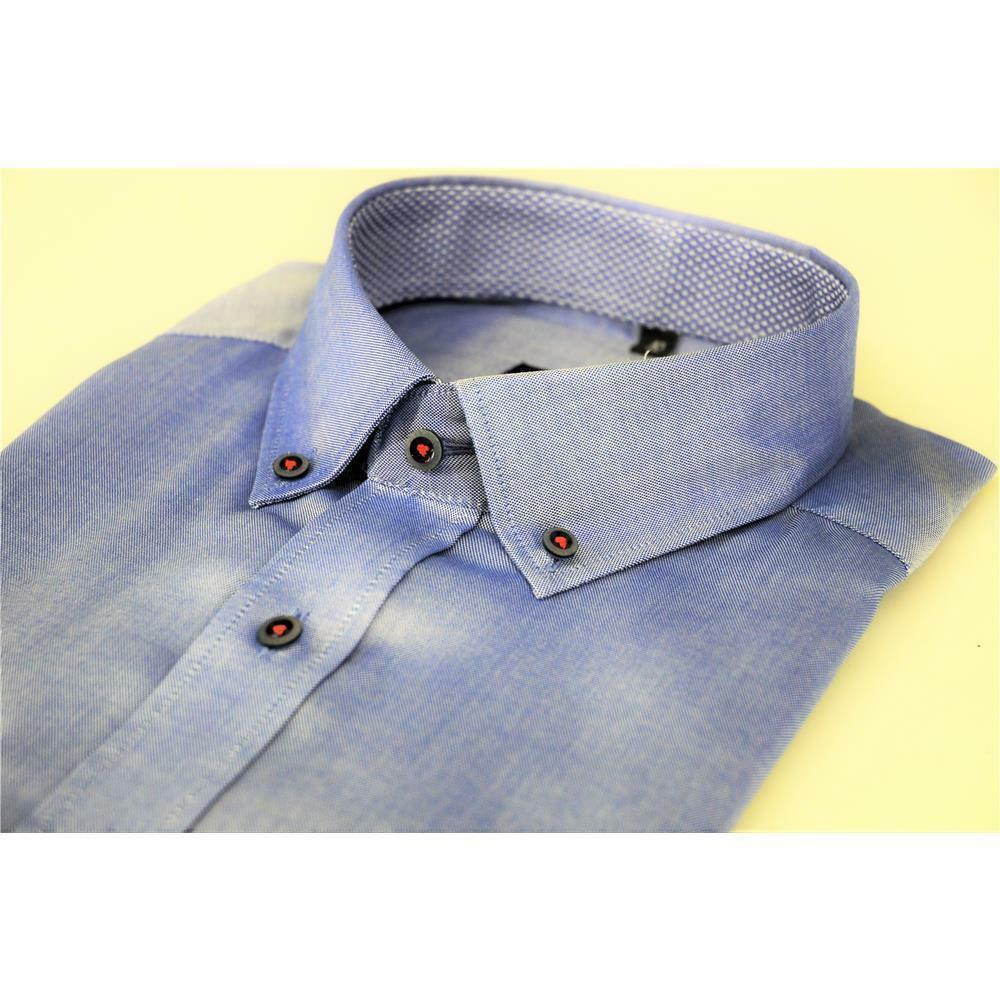 Eterna signori 1/2 Braccio Camicia in Blu DOWN con BUTTON DOWN Blu COLLO MODERN FIT e215ec