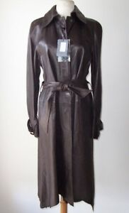 ALEXANDER-MCQUEEN-Brown-Leather-Raw-Edge-Belted-Long-Coat-42-6-8