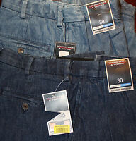 +roundtree & Yorke Blue Expander Mens Jean Shorts 30 Pleated F-701 Ret. $40