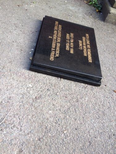 Book engraved granite personalised headstone memorial plaque