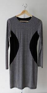 KAREN-KANE-Geometric-Sheath-Dress-Long-Sleeve-Colorblock-Black-White-USA-Size-M