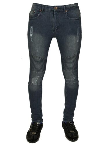 Homme STONE EDGE Skinny Super Extensible Motard Jeans Bleu Jean Taille Taille 28-38
