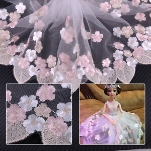 1-Yard-Embroidered-Floral-Leaf-Tulle-Lace-Trim-Sewing-Wedding-Dress-Craft-Decor