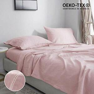 Simple-amp-Opulence-100-Pure-Linen-Bed-Sheet-Set-Queen-4pcs-Hemstitch-Flax-Bedding
