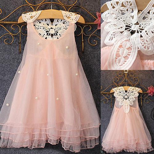 Baby Flower Girl Kid Princess Dress Wedding Party Tutu Tulle Sleeveless Dresses