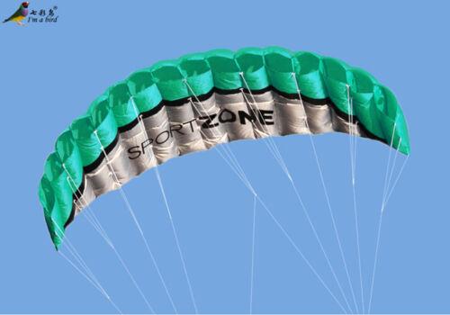 Outdoor Sports 2.5m Power Soft Kite Dual Line Stunt Parafoil Handle 30m for Kids
