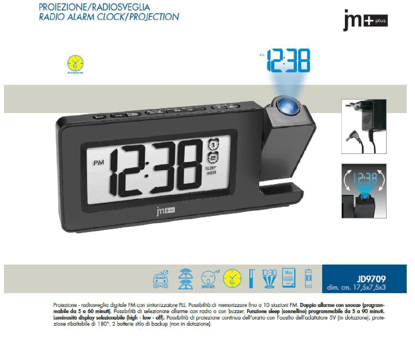 LOWELL J9709 ALARMA DE RADIO PANTALLA LED FM y VIDEOPROYECCIÓN AZUL 10 MEMORIE