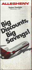 Allegheny Airlines system timetable 6/1/78 [6031] (Buy 3+ Save 25%)