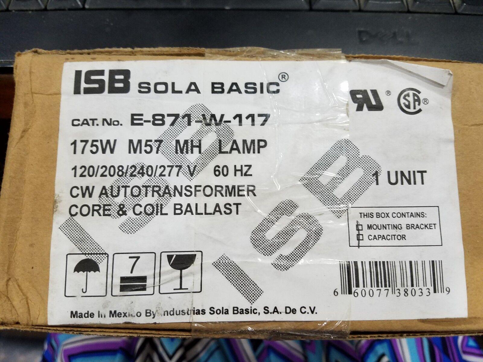 ISB SOLA BASIC E-871-W-117, CW Autotransformer, Core & Coil Ballast,