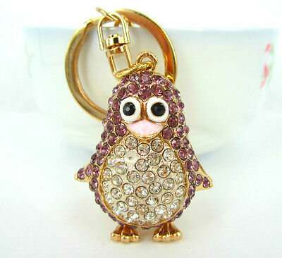 Petty Penguin Bird Lovely Pendent Swarovski Crystal Purse Bag Key Chain Gift