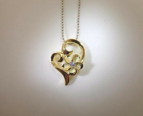 14.5mm Yellow Gold Plated 925 Silver Hawaiian Satin Plumeria Heart CZ Pendant