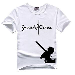 Anime Sword Art Online SAO Cotton T-Shirt Short Sleeve Shirt Cosplay Tee summer