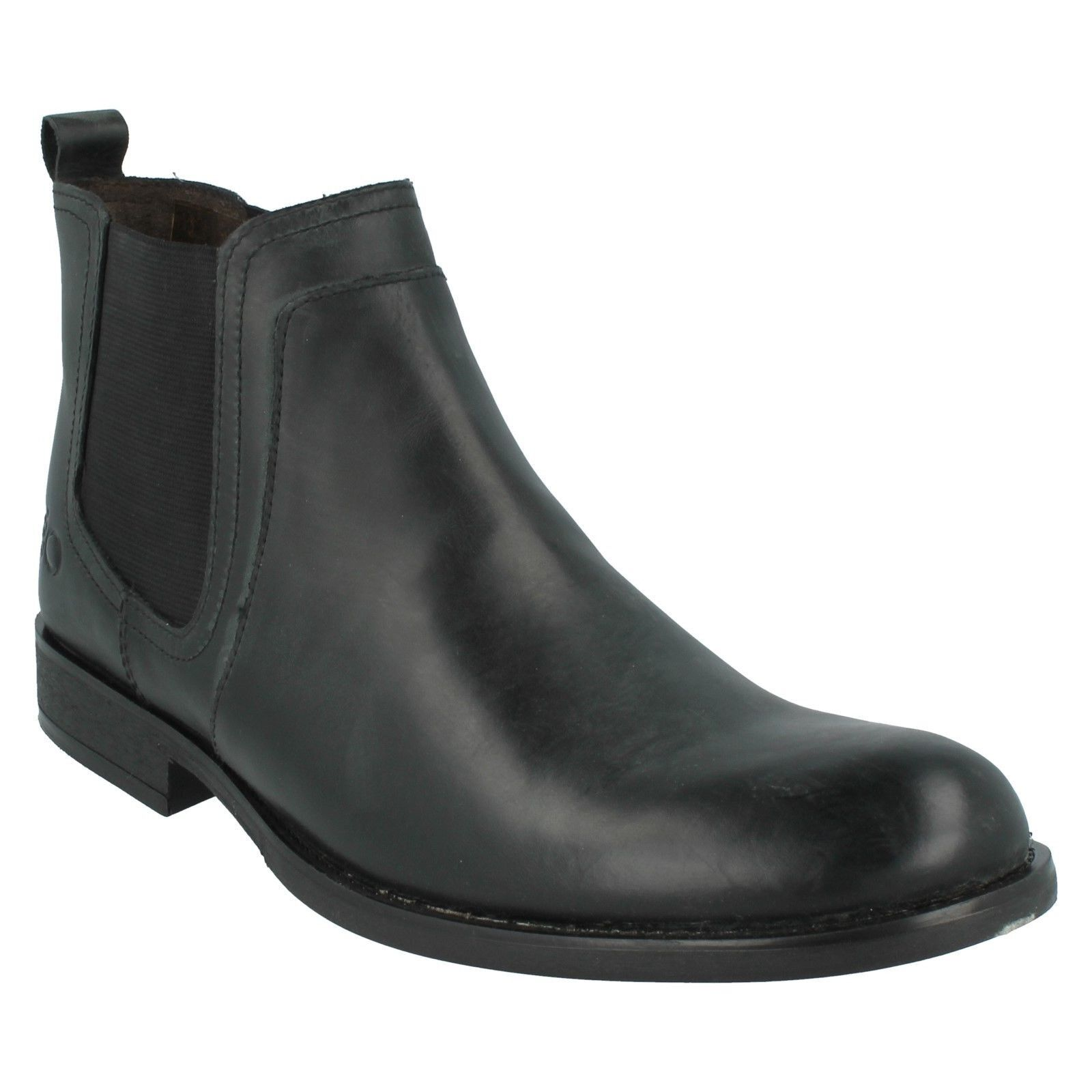SALE DARTMOUTH  Herren BASE LONDON WAXY BLACK LEATHER SLIP ON CHELSEA ANKLE Stiefel
