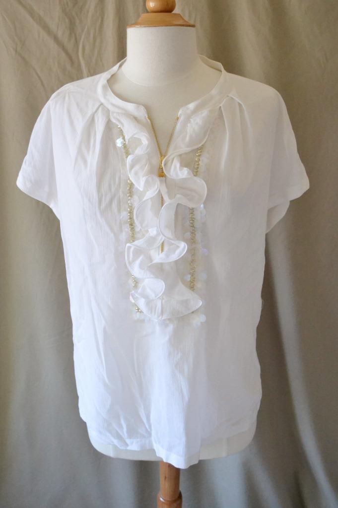 Escada Weiß Cotton Blouse w Ruffle & Sequins Größe 40 - US Größe 10