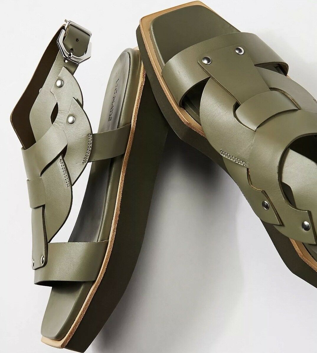NEW  298 Free People x Vic Matie Valencia Valencia Valencia Sandals Taille 39 (8-8.5) vert Leather b36b5a