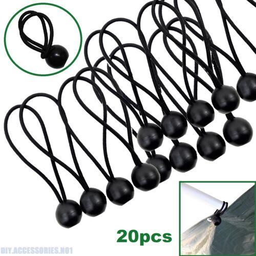 "20 x 6/"" Bungee Ball Elastic Cord Black Loop Shock Cords Easy Fix Ties Tarp Tent"