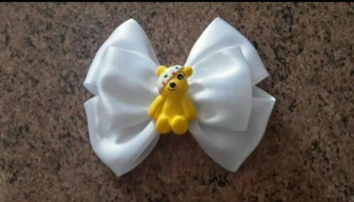 "Hair Bow  /""Pudsey Bear/""  Children In Need 9cm  on Alligator Clip"