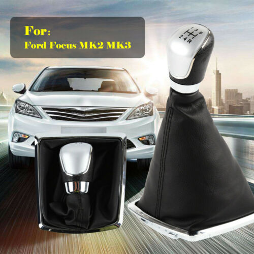 5 Speed Gear Stick Shifter Knob Gaiter Leather Cover For Ford Focus CMax MK2 MK3