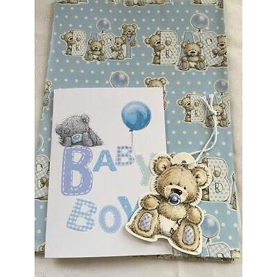 Baby Boy Girl Gift Wrap Card & Tag Set With Free Card