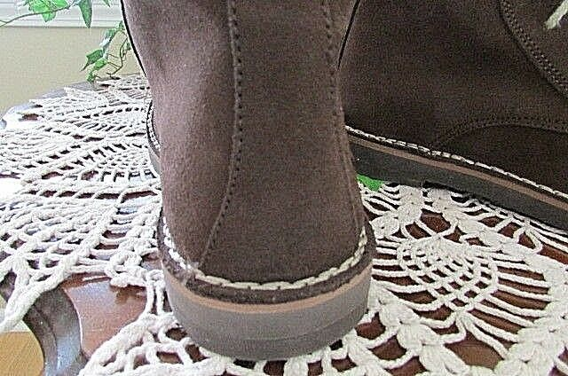VINTAGE FRYE Lace Up Brown Suede Leather mid calf FLATS FLATS FLATS boots-sz 10 -NWOB 260108