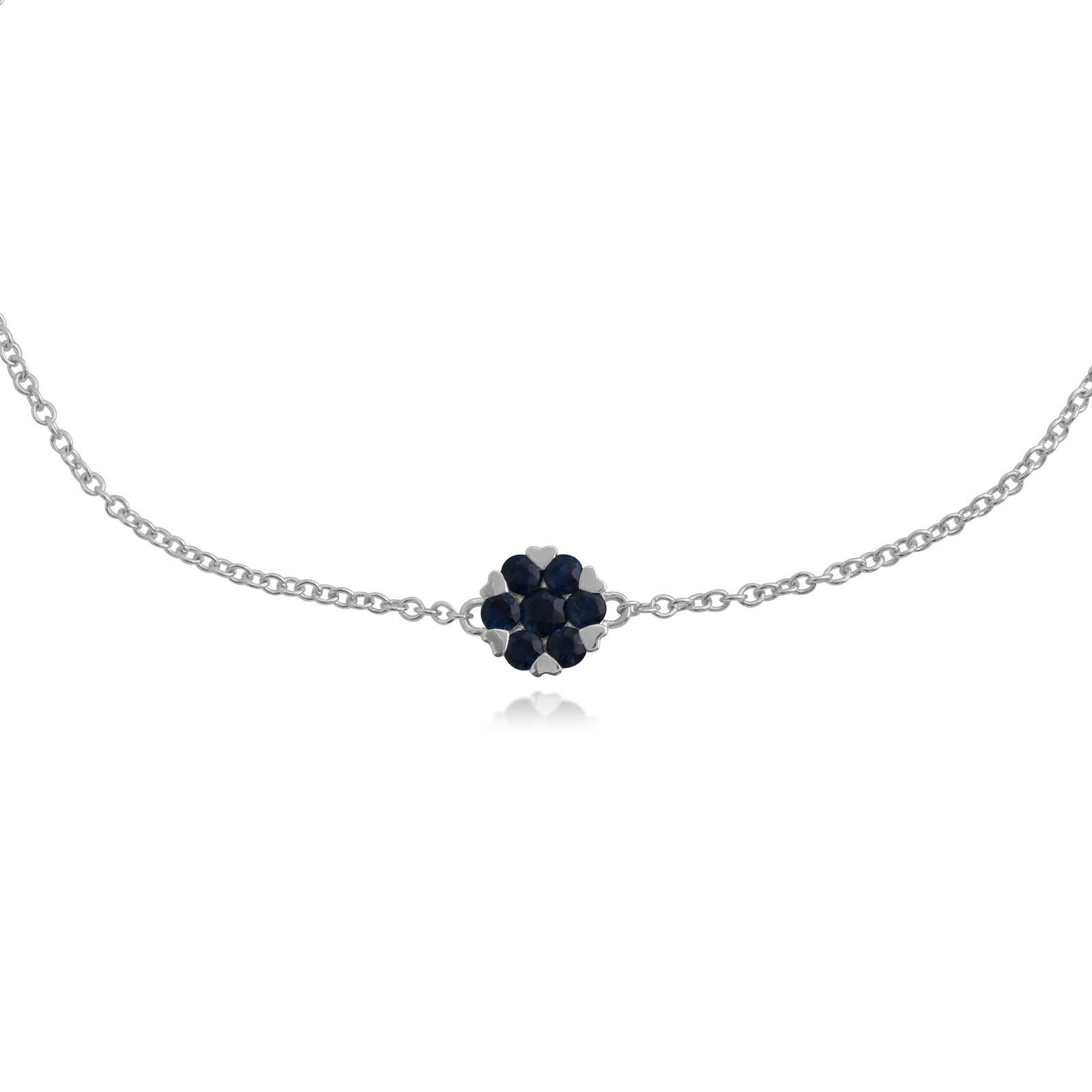 Gemondo 9ct White gold 0.39ct Sapphire Floral Cluster 19cm Bracelet