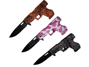 "8"" Tactical Assisted Spring HAND GUN PISTOL Folding Pocket Knife w HOLSTER"