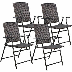 Details About 4 Outdoor Folding Brown Rattan Dining Chairs Patio Furniture  Set Garden Wedding