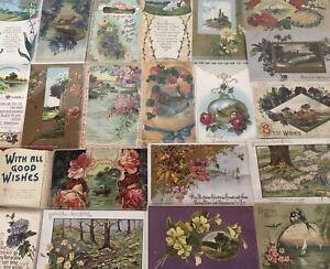 Lot-of-25-Pretty-Flowers-amp-Scenes-Vintage-Floral-Greetings-Postcards-b365