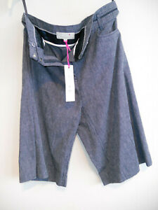 LADIES-NAVY-STRIPE-PER-UNA-LINEN-TAILORED-CITY-SHORTS-SIZE-8-NEW-HOLIDAYS-CRUISE