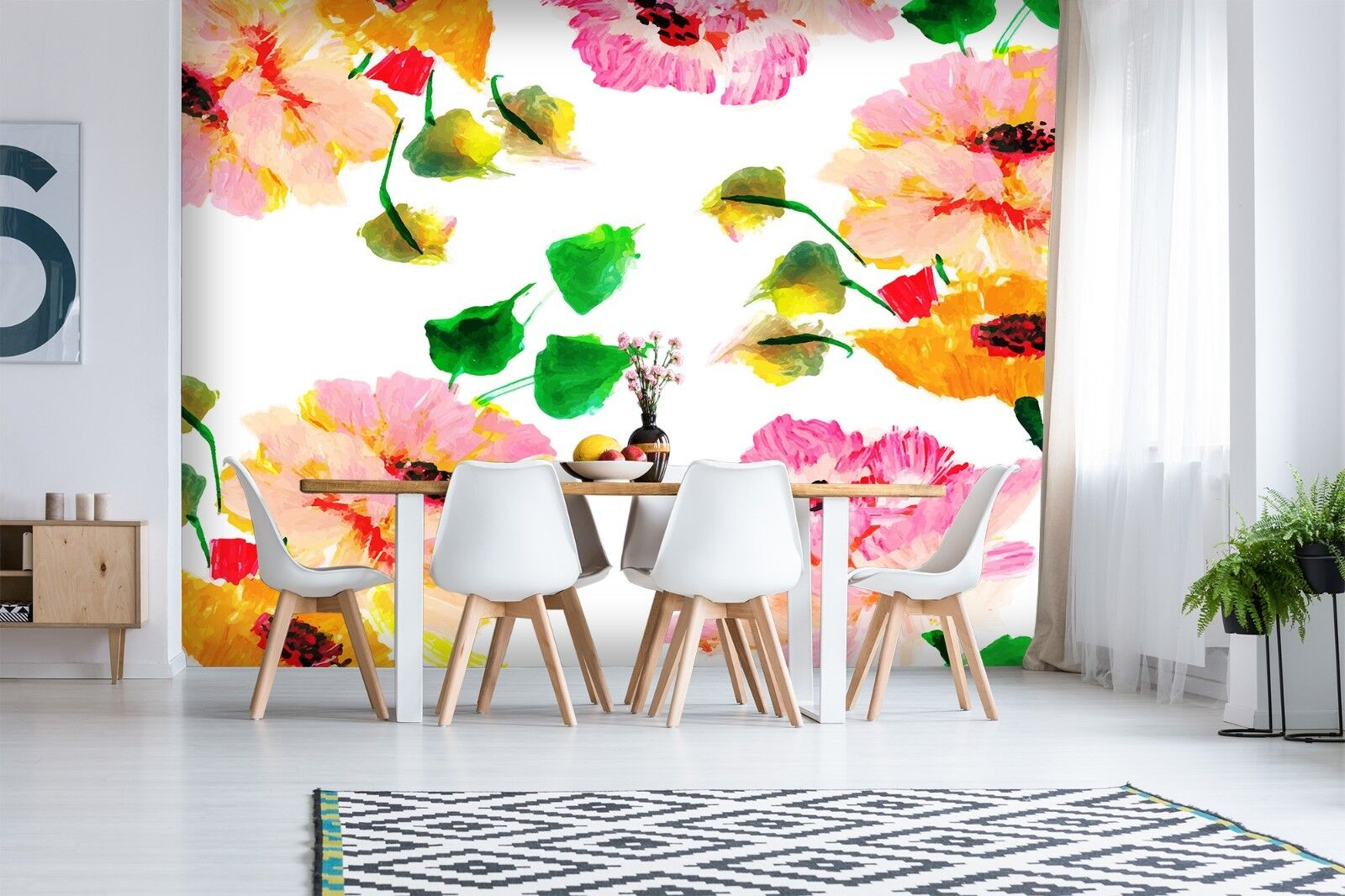 3D Colour Flower Painting 75 Wallpaper Mural Paper Wall Print Murals UK Jenny