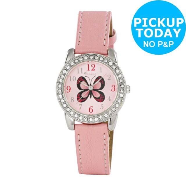 Tikkers Girls' Pink Butterfly Watch Set.