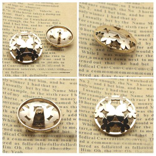 Papillon 12PCS Métal haut de gamme Rond Creux Manteau Tige Boutons NEUF 13 16 20 23 mm