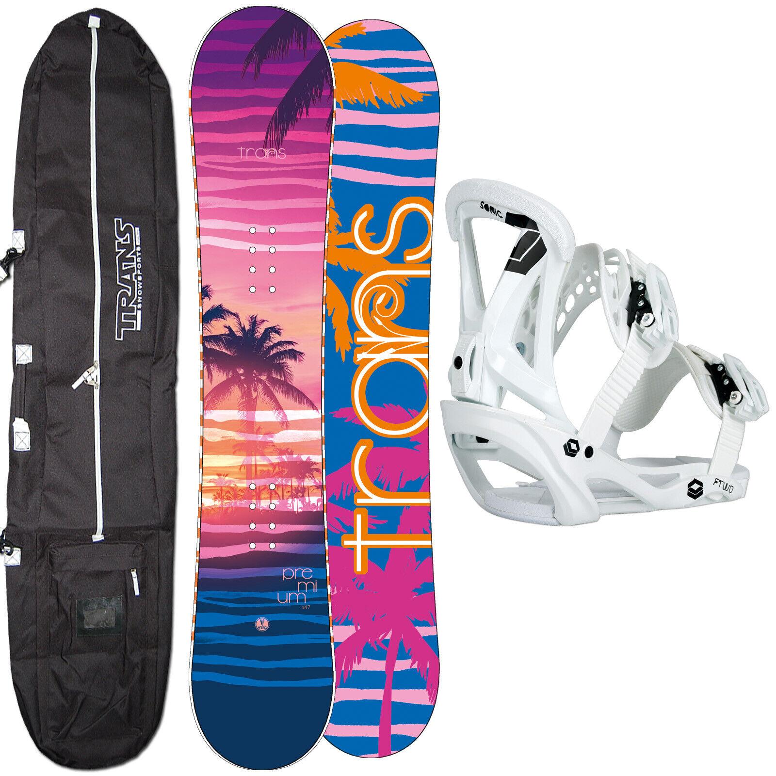 DAMEN SNOWBOARD SET TRANS PREMIUM 155 CM 2020 + FTWO SONIC BINDUNG M + BAG