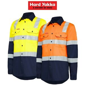 Mens-Hard-Yakka-Biomotion-Hi-Vis-X-Cross-Tape-Safety-Work-Light-Shirt-Y04270