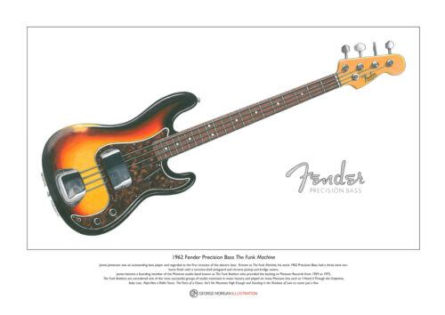James Jamerson/'s 1962 Fender Precision Bass Ltd Edition Fine Art Print A3 size