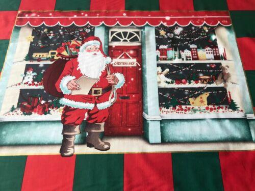 Grand de Noël de l/'avent Panneau Santa Sweet Shop Tissu de coton matériau Noël