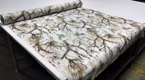 """MC2 Snow Camo Cotton Poly Twill Fabric 60/""""W Hunting Camouflage Water Repellent"""