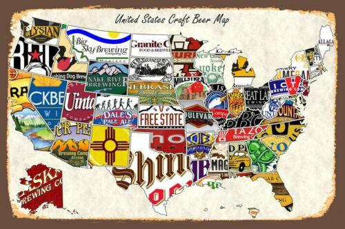 Craft Beer 4X6 Refrigerator Fridge Magnet Man Cave Decor SIGN Photo Bar MAP USA