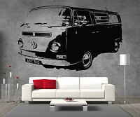 Bay Window VW Camper Van Vinyl Sticker Wall Art Boys Bedroom Garage Play Room