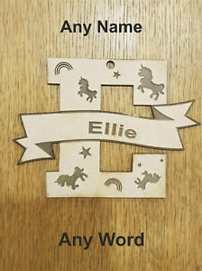 ANY-NAME-WORD-Personalised-wooden-name-unicorn-rainbow-star-plaque-decoration