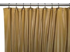 3 Gauge Vinyl Shower Curtain Liner w/ Weighted Magnets & Metal Grommets Gold NEW