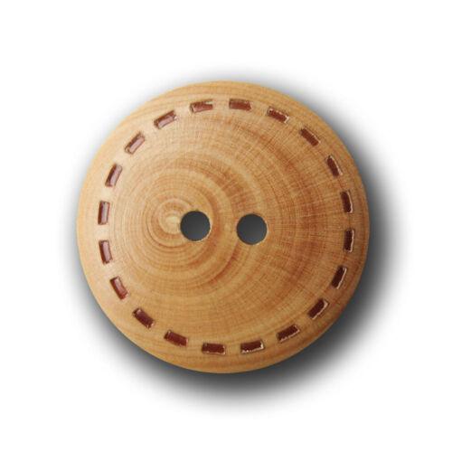 5 braune Zweiloch Holz Knöpfe mit Stepp Naht Design h050hb