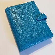 Filofax Finsbury Pocket Leather Planner Organizer Aqua Blue