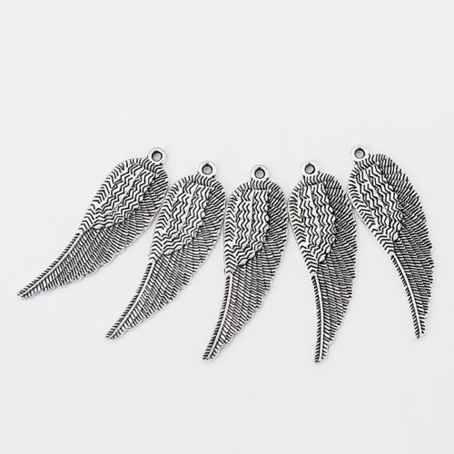 10pcs Antique Silver Large Angle Eagle Wing Feather Charms Beads Pendant 53x16mm