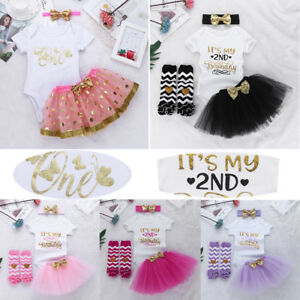 5f598de43dc91 Details about Girls Baby 1st 2nd Birthday Outfit Shirt Romper+Tutu  Skirt+Headband+Leggings Set