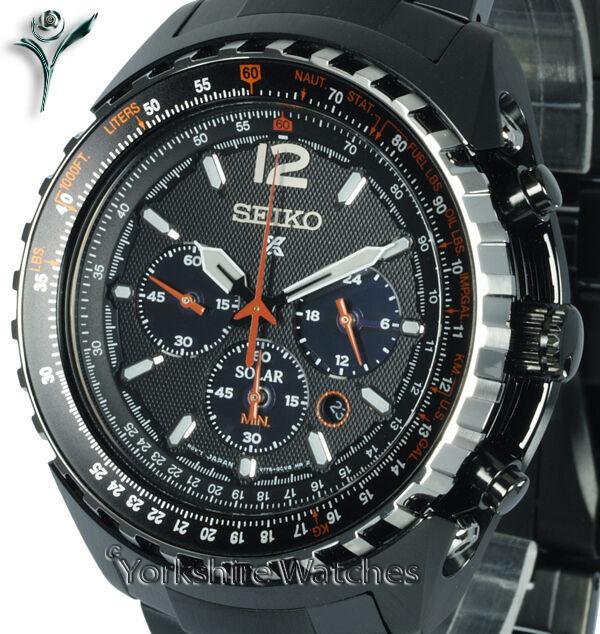 New SEIKO PROSPEX SOLAR AVIATOR ION BLACK CHRONO WITH STEEL BRACELET SSC263P1